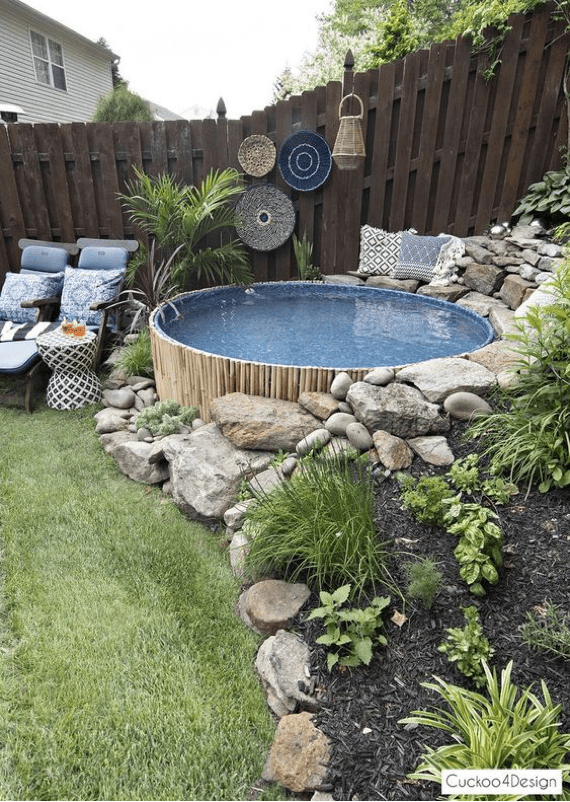 Swimming Pool from wood and stone gabions