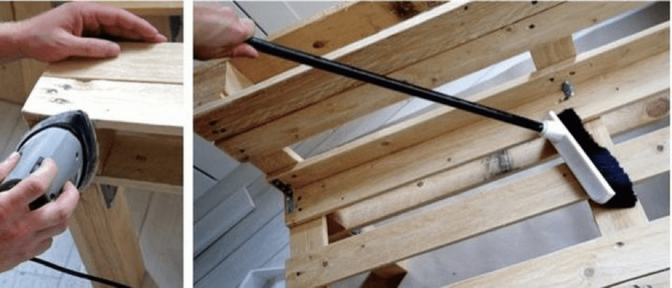 Prepare pallets for the pallet bed